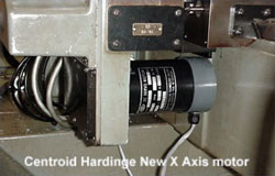Hardinge CHNC X axis servo motor, new replacement servo motor shown.