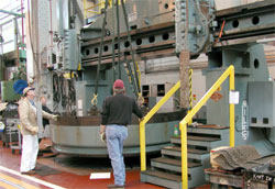 Niles turret lathe, fixture plate being installed